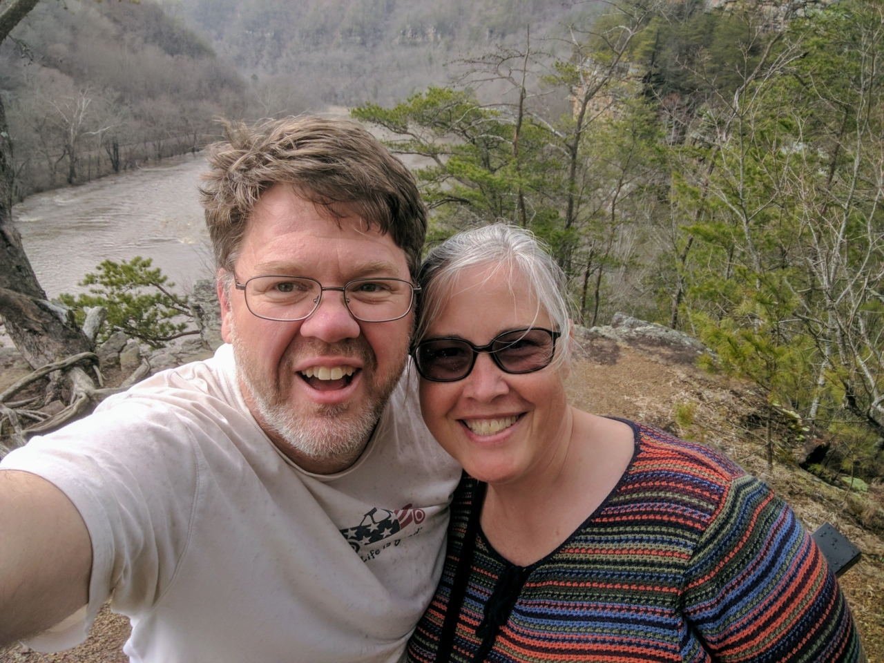 Pat & Calvin at the top of Paint Rock with French Broad River in the background
